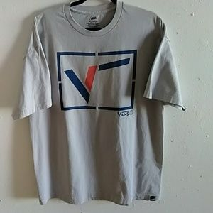 Vans Grey T-shirt XL Red and Blue Unusual Graphic